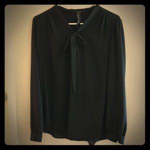 Front-Tie Black Blouse